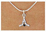 Silver Tone Hockey Sticks Charm Necklace